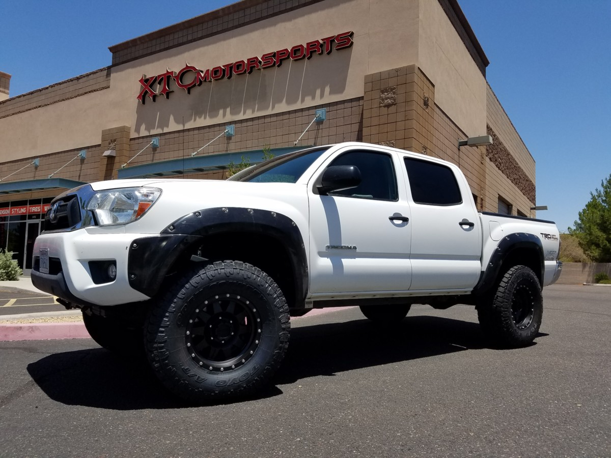 """Taco Tuesday! 2013 Toyota USATacoma with an ICON Vehicle Dynamics Stage 7 0-3.5"""" lift with rear air bump stops & Deaver Suspension Inc rear springs & Total Chaos Fabrication Inc. spindle gussets, with Toyo Tires 350/70R16 Open Country A/T II tires on some Method Race Wheels 16x8 Standard's."""