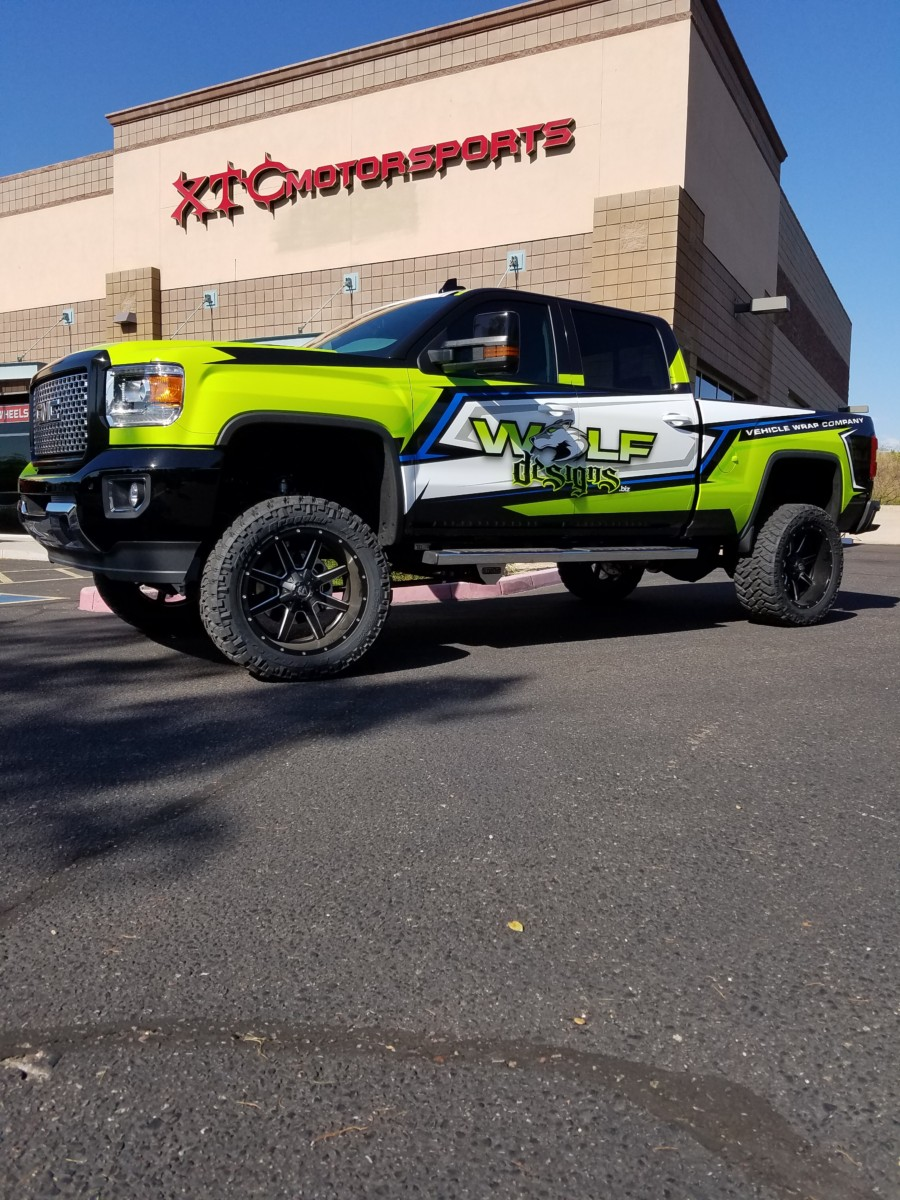 """Wolf Designs brought us this 2016 GMC 2500HD Denali to get a ReadyLift Suspension Inc. 6"""" suspension lift with FOX Performance Series 2.0 shocks, Nitto Tire 325/50R22 Trail Grappler tires wrapped around some 22"""" Fuel Offroad Maverick wheels."""