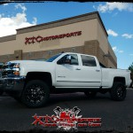 Tyler flew out from Northern California to buy his truck and made sure XTC Motorsports did some suspension upgrades before he drove his brand new ride home. We installed Cognito Motorsports, Inc upper control arms and pitman & idler arm support kit, Fox Racing 2.0 Performance series shocks on the front & rear, Toyo Tires 295/60R20 Open Country ATII tires on some SOTA Offroad 20x9 Novakane Death Metal wheels.