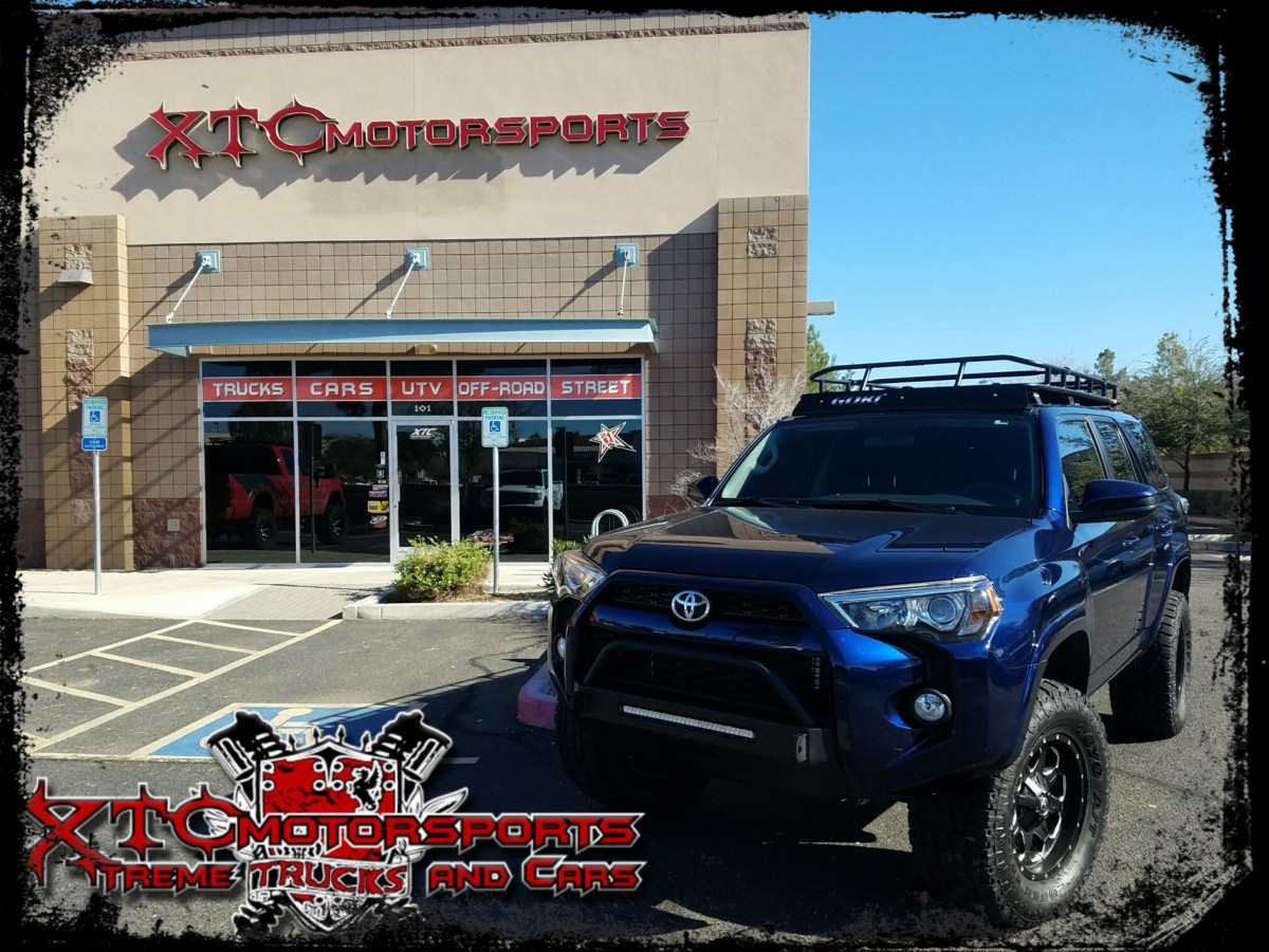 """Antonio brought in his 2016 Toyota USA 4Runner for an ICON Vehicle Dynamics 3.5"""" 2.5 series coil over kit with 2"""" rear coils and 2.0 series rear shocks, with 18x9 Fuel Offroad Black D534 Boost wheels with 325/60R18 Toyo Tires Open Country AT-II tires wrapped around them. We also installed a GOBI Racks Ranger rack and a Slimline Hybrid front bumper from Southern Style OffRoad with a 20"""" SR series driving light from Rigid Industries - LED Lighting. A winch and a few other accessories are on the list in the near future."""