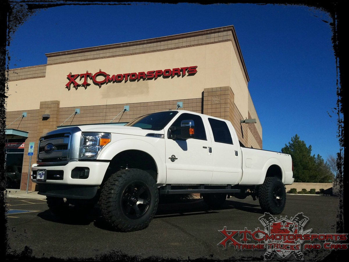 "Jeff dropped his 2016 Ford Motor Company F350 Super Duty off for a ReadyLift Suspension Inc. 6.5"" suspension lift with ICON Vehicle Dynamics 2.5"" CDCV Adjustable shocks, Ride-Rite rear load carrying airbags, Rigid Industries - LED Lighting fog lights, and all of this is standing tall on some 37X12.50R20 Toyo Tires Open Country Mud Terrains wrapped around some 20x10 Fuel Offroad Double Dark tint Beast wheels."