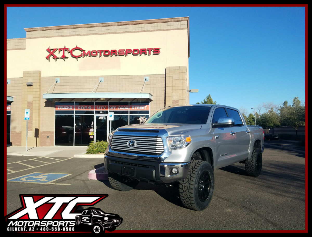 "Rad dropped his 2017 Toyota Tundra off for a ReadyLift 6"" Suspension lift with Bilstein rear shocks, 35x12.50R20 Toyo Open Country R/T tires wrapped around some 20x9 Fuel Offroad Vector wheels, & a Magnaflow Cat-Back polished stainless steel Dual exhaust."