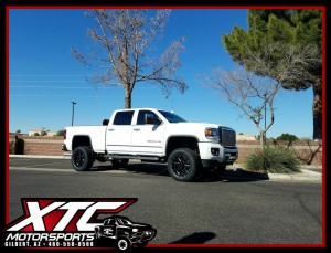 "Kyle brought us his 2015 GMC Sierra Denali 2500HD for a Cognito Motorsports, Inc 4-6"" Non Torsion Bar Drop suspension lift with Fox Racing 2.0 Performance series shocks, Ride-Rite rear load leveling airbags with an Air Lift WirelessONE air control unit using a Daystar Products International airbag cradle kit, all of this is standing on some 295/60R20 Nitto Tire Terra Grappler G2's on some Gear Alloy Wheels gloss black with CNC milled accents 726MB Big Blocks."