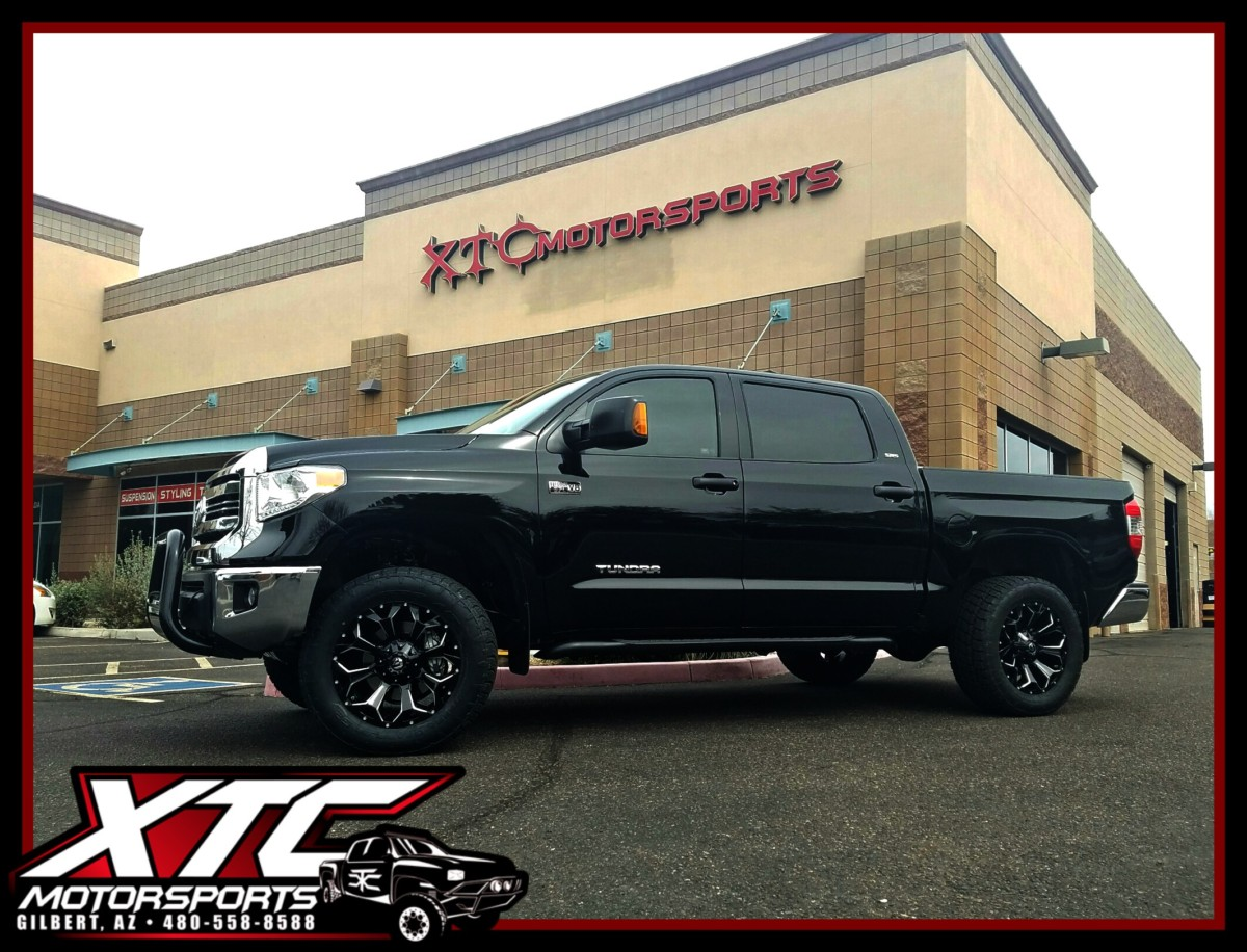 "Mike dropped off his 2017 Toyota USA Tundra for a ReadyLift Suspension Inc. 3""/1"" SST lift kit and some 305/55R20 Nitto Tire Terra Grappler G2's wrapped around some 20x9 Gloss Black & Milled Fuel Offroad Assault wheels."