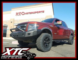 "Fernando brought in his 2014 Ford Motor Company F-150 FX4 for an ICON Vehicle Dynamics Stage 2 0-3"" suspension lift with 2.5"" Coil Overs, 2.0 rear shocks, & Uni-Ball upper control arms, N-FAB textured black wheel to wheel nerf steps, Road Armor Bumpers front & rear with Rigid Industries - LED Lighting fog & drive lights up front & a backup light kit for the rear, Fuel Offroad 18x9 Double Dark Tint Beast wheels wrapped with 33x12.50R18 Nitto Tire Ridge Grapplers."
