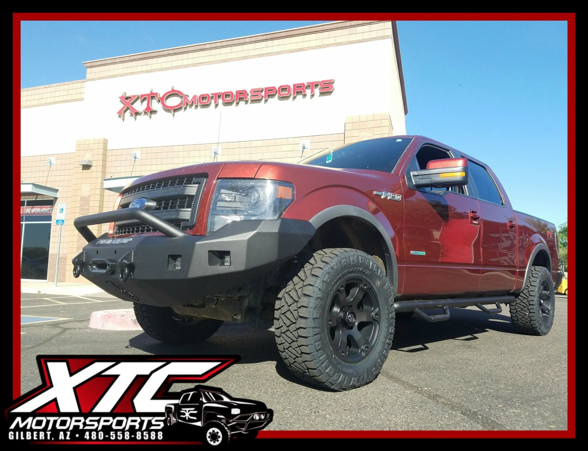 """Fernando brought in his 2014 Ford Motor Company F-150 FX4 for an ICON Vehicle Dynamics Stage 2 0-3"""" suspension lift with 2.5"""" Coil Overs, 2.0 rear shocks, & Uni-Ball upper control arms, N-FAB textured black wheel to wheel nerf steps, Road Armor Bumpers front & rear with Rigid Industries - LED Lighting fog & drive lights up front & a backup light kit for the rear, Fuel Offroad 18x9 Double Dark Tint Beast wheels wrapped with 33x12.50R18 Nitto Tire Ridge Grapplers."""