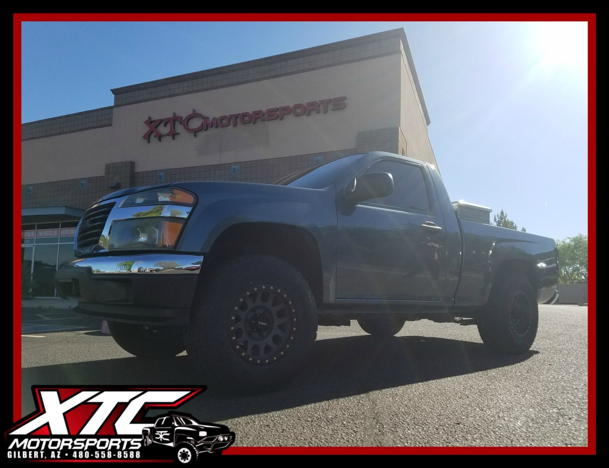 """This is the second GMC Canyon we have built for Clarissa, we put a 2.5"""" ReadyLift suspension lift, 16x8 Method Race Wheels Titanium Grid's wrapped with a set of 265/70R16 Toyo Tires Open Country ATII's."""
