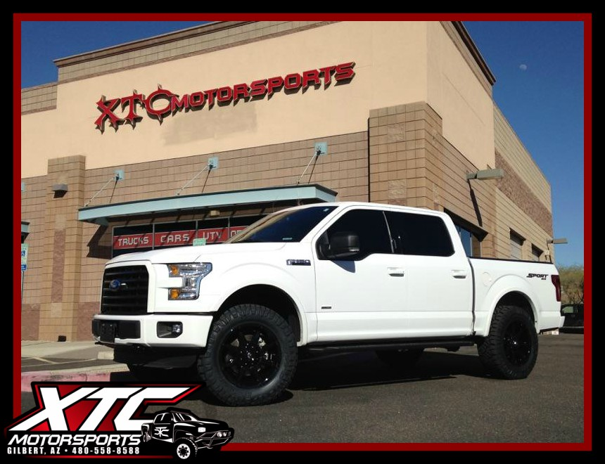 """Aaron dropped off his 2016 Ford Motor Company F150 for a ReadyLift Suspension Inc. 2.5"""" leveling kit, Fuel Offroad D575 Gloss black Coupler wheels wrapped with 35x11.50R20 Nitto Tire Ridge Grapplers, & a Hypertech Max Energy programmer."""
