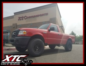 "Bob wanted to give his 2008 Ford Motor Company Ranger and little bit of a lift and a nice set of tires & wheels, so we installed a Fabtech Motorsports 3"" spindle lift with rear add-a-leaf and Stealth shocks all the way around along with a set of 31x10.50R15 Yokohama Tire Geolander A/T's wrapped around a set of 15x7 American Racing Wheels AR23's."