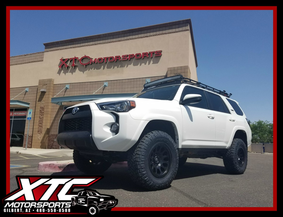"Our buddy John over at Handcrafted Car Audio brought in his 2016 Toyota USA 4Runner for an ICON Vehicle Dynamics suspension system including extended travel front coil-overs with tubular upper control arms, 2"" rear coil springs with 2.5"" VS series remote reservoir rear shocks, a set of 285/70R17 Nitto Tire Ridge Grappler's wrapped around a set of 17x8.5 Fuel Offroad D579 Black Vector wheels."