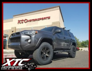 "Ty dropped off his 2016 Toyota USA 4Runner for a ReadyLift 3""/2"" SST suspension lift, a set 275/70R18 Toyo Tires Open Country ATII's wrapped around a set of Fuel Offroad 18x9 Dark Tint Beast wheels."