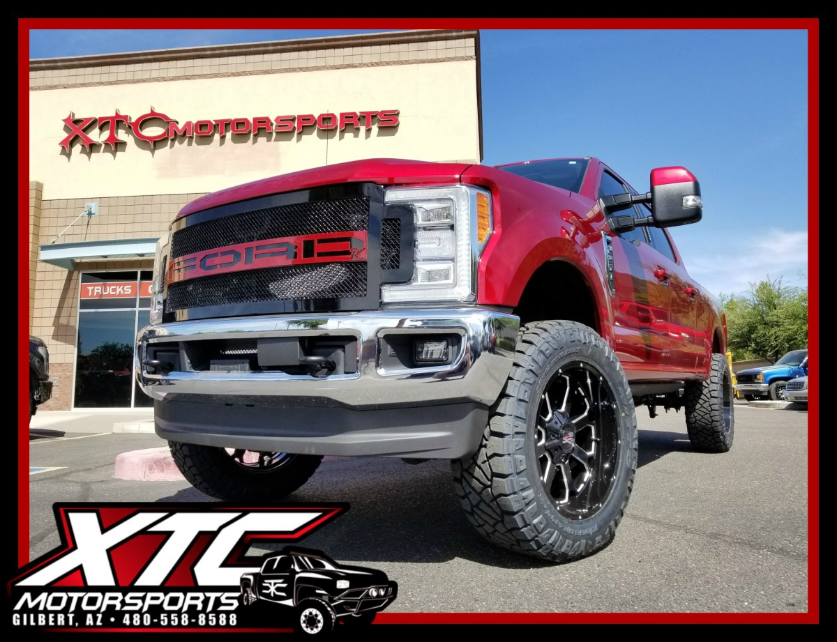 "Scott dropped off his 2017 Ford Motor Company F-250 Super Duty for a 3.5"" Pro Comp Nitro Lift, Magnaflow Black DPF Back Tail Pipe, AMP Research power steps, a custom painted Kelderman Air Suspension Systems Alpha Series grille, and we finished it off with a set of 22x10 Buck 25 Black & Milled XD wheels wrapped with a set of 37x12.50R22 Nitto Tire Ridge Grapplers."
