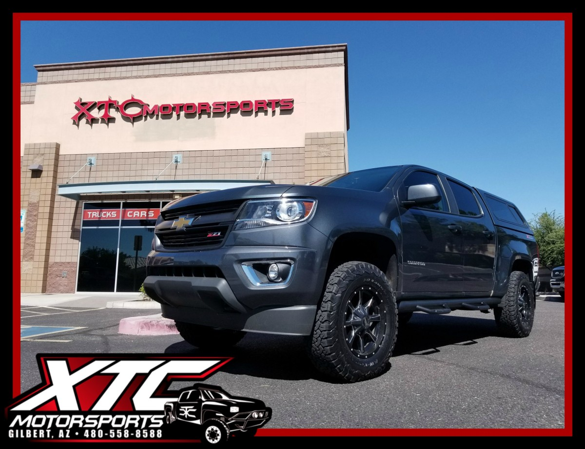 "Jeff recently put on a set of 17"" Moto Metal MO970 Satin Black & Milled wheels, wrapped with a set of 265/70R17 BFGoodrich Tires All Terrain KO2 tires on his 2015 Chevrolet Colorado and had a slight rubbing issue. He then gave us a call to find out his options and he decided to go with the ICON Vehicle Dynamics Stage 2 suspension system because of the performance advantages compared to a typical leveling kit for the off roading that he does. He also decided to put on a set of N-FAB wheel to wheel nerf bars."