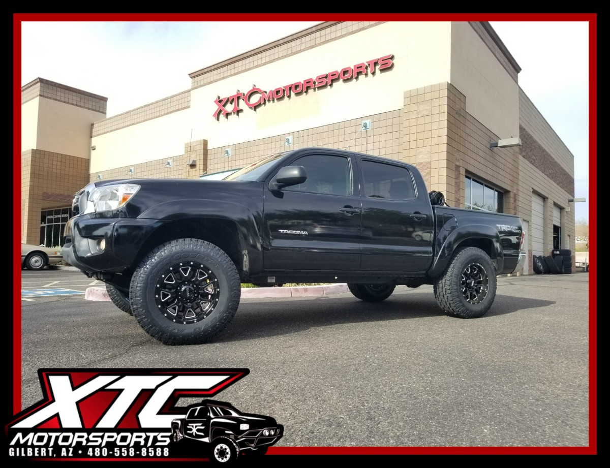OJ brought us his 2014 Toyota USA Tacoma for a few add-ons before passing it to his son. We installed a set of Bilstein Shock Absorbers 5100 series adjustable front struts and rear shocks, we also put on a set of 17x9 Ultra Wheel Company 203 Gloss Black & Milled Hunter wheels wrapped with a set of 285/70R17 Toyo Tires Open Country ATII's.