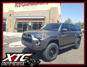 Troy dropped off his 2017 Toyota USA 4Runner last week for a set of Bilstein Shock Absorbers 5100 series front struts and rear shocks. We also installed a set of P285/70R17 Toyo Tires Open Country AT II's wrapped around a set of KMC Wheels XD Series 17x9 XD820 Matte Black Grenades.