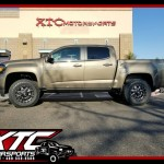 We just built this 2017 GMC Canyon for Alec. We installed an ICON Vehicle Dynamics Stage 4 suspension system, a set of 265/70R17 Toyo Tires Open Country AT II's wrapped around a set of Fuel Offroad Black & Milled Maverick wheels, AMP Research PowerSteps & BedXtender HD Sport, & a set of Husky Liners rear wheekl weel guards.
