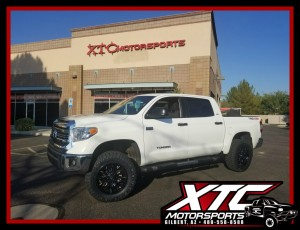 "Dave brought in his 2016 Toyota USA Tundra for a ReadyLift Suspension Inc. 4"" SST suspension lift with a set of 35x11.50R20 Nitto Tire Ridge Grapplers wrapped around a set of Fuel Offroad 20x9 Gloss Black & Milled Sledge wheels, a set of front and rear WeatherTech black laser cut floor mats. We had previously installed a Bak Industries RollBak G2 tonneau cover."