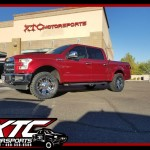We just installed a set of Bilstein Shock Absorbers 5100 series struts to level out the front of Chris' 2017 Ford Motor Company F150 along with a set of 20x9 KMC Wheels XD778 Chrome Monsters, wrapped with a set of 295/55R20 Toyo Tires Open Country M/T's.