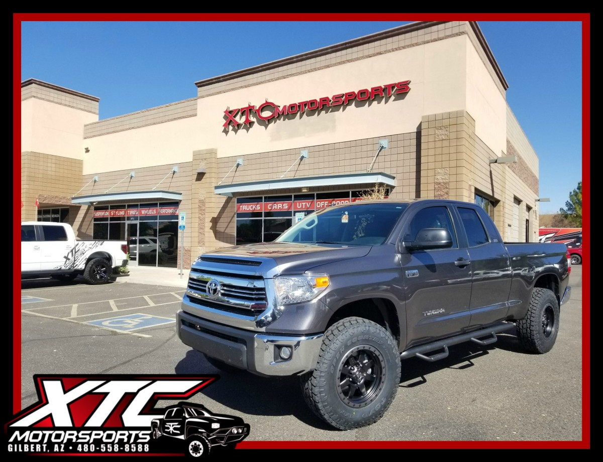 "We just finished up this 2017 Toyota USA Tundra by putting on a CST Performance Suspension 3"" front/1"" rear lift with a set of 18x9 Fuel Offroad D551 Matte Black with Anthracite ring wheels wrapped with a set of 285/75R18 Toyo Tires Open Country ATII's. We also installed a set of N-FAB wheel-to-wheel nerf steps."