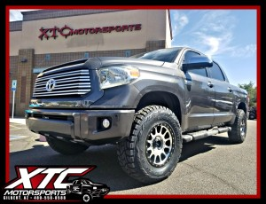 "Lance brought us his 2014 Toyota USA Tundra for a Pro Comp 3/1"" Nitro Lift a set of 285/75R18 Toyo Tires Open Country R/T's wrapped around a set of Method Race Wheels Machined Face w/ Black lip NV's. We also installed a Banks Power Monster Exhaust system."
