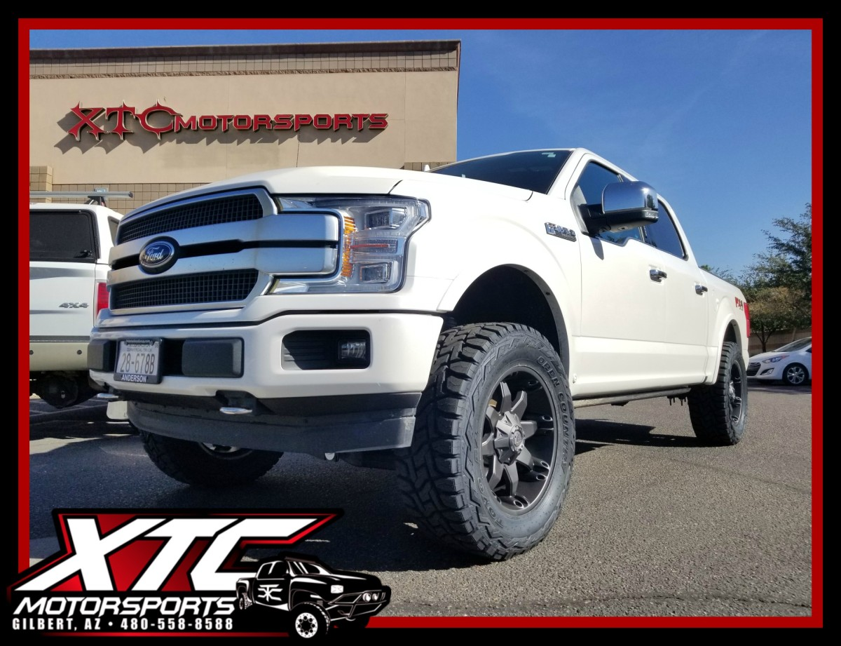 "We recently built this 2018 Ford Motor Company F150 for Matt, by installing a Fabtech Motorsports 4"" suspension lift, and a set of 35x12.50R20 Toyo Tires Open Country R/T's wrapped around some Fuel Offroad 20x9 D509 Black Octane wheels."