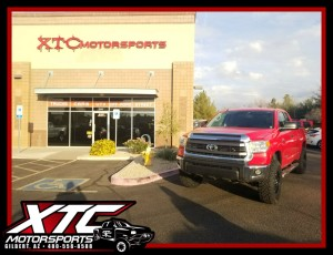 "Michael had us hook up his 2015 Toyota Tundra with a ReadyLift 3""/1"" suspension lift, and a set of 285/75R18 Nitto Ridge Grappler tires wrapped around a set of Fuel Offroad D517 Black & Machined Krank wheels."
