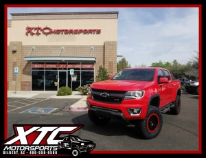 "Timothy had us put a BDS Suspension 5.5"" lift with FOX Coilovers & rear shocks, a set of 295/70R17 Nitto Ridge Grappler tires wrapped around a set of custom painted Fuel Offroad D584 Matte Black wheels on his 2016 Chevrolet Colorado."