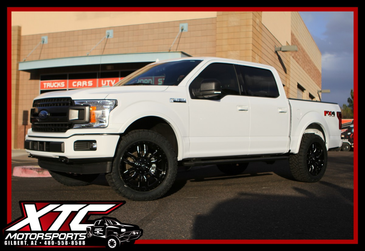 "We recently put a Daystar 2"" Leveling Kit, a set of 22x9.5 Fuel Offroad Gloss Black & Milled Sledge wheels wrapped with a set of 285/55R22 Nitto Ridge Grappler tires on this 2018 Ford Motor Company F150."