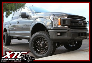 "Cody brought us 2018 Ford F150 for a 6"" BDS Suspension w/ FOX 2.0 rear shocks, a set of 35x12.50R20 Toyo Open Country ATII tires wrapped around a set of Black & Milled 20x10 KMC XD Series XD825 wheels."