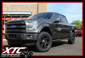 "Mike brought in his 2015 Ford F150 for a ReadyLift Suspension 2.5"" leveling kit, a set of 20x9 Fuel Offroad Matte Black & Double Dark Tint Vapor wheels wrapped with a set of 295/60R20 Nitto Ridge Grappler tires."