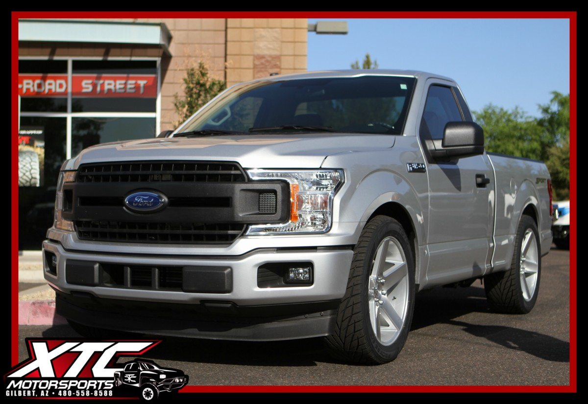 "Jace brought us his 2018 Ford F150 for Maxtrac Suspension 2""/4"" lowering kit with a set of 305/45R22 Toyo Proxes S/T tires wrapped around a set of 22x9.5 Dub Brushed Silver Baller wheels."