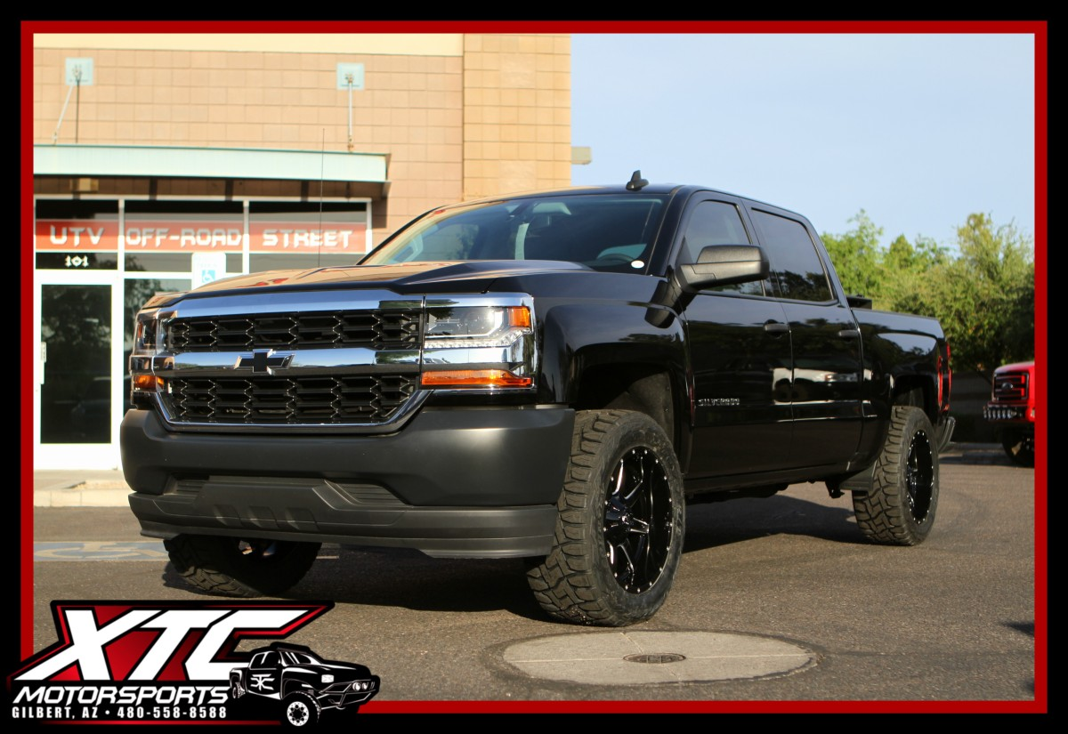 "Robert brought in his 2017 Chevrolet Silverado 1500 for an XTC Motorsports 2.5"" leveling kit a set of Fuel Offroad 20x9 Gloss Black & Machined Maverick wheels wrapped in a set of LT295/55R20 Toyo Open Country R/T tires."