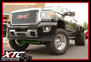 "Steve recently had us install a custom painted CST Performance Suspension 6-8"" stage 5 lift kit, a set of 37x12.50R20 Toyo R/T tires wrapped around a set of Fuel Offroad FF19 polished forged wheels on his 2016 GMC Sierra 3500HD."