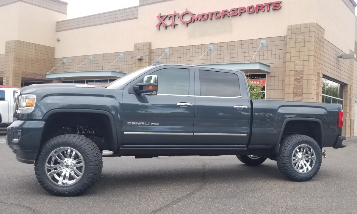 """Jason had us install a 3-6"""" High Clearance CST Suspension lift with Dirt Series reservoir shocks, a set of Firestone airbags power by an Airlift Wireless One air control kit, a set of Fuel Offroad 20x10 D631 Chrome Sledge wheels wrapped in a set of 35x12.50R20 Nitto Ridge Grappler tires."""