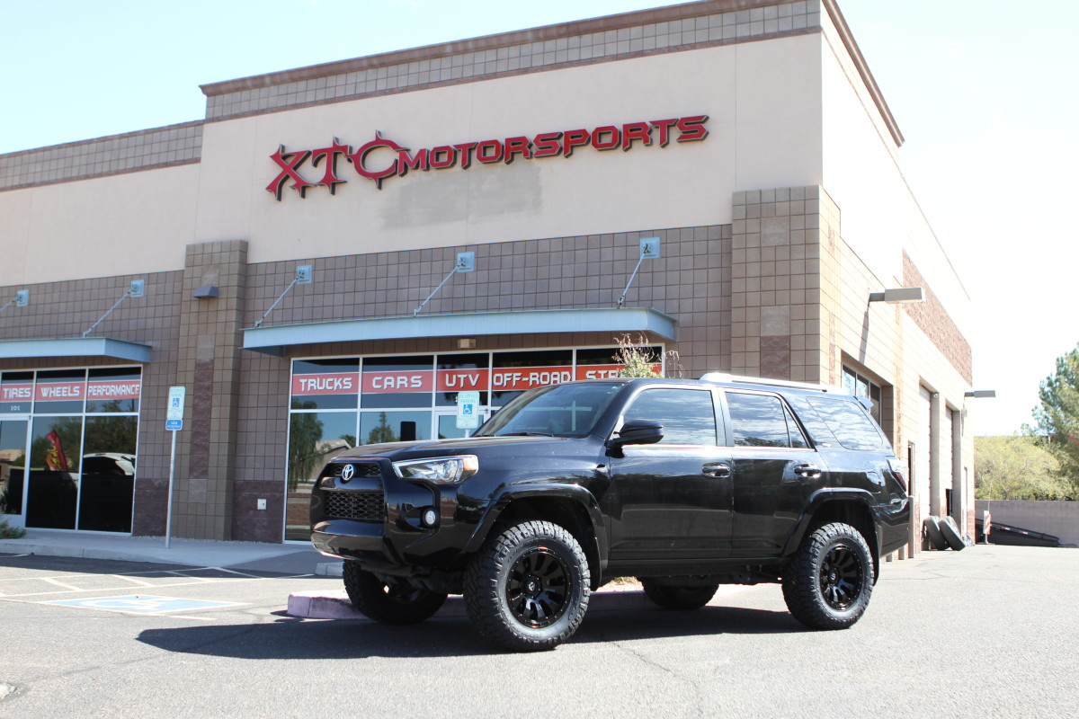 """We recently installed a ReadyLIFT 3"""" SST lift and a set of Fuel OffRoad D630 Matte Black Tactic wheels wrapped with a set of LT285/65R18 Nitto Ridge Grappler tires on Nichole's 2015 Toyota 4Runner."""